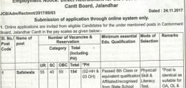 Cantonment Board Jalandhar Recruitment 2018